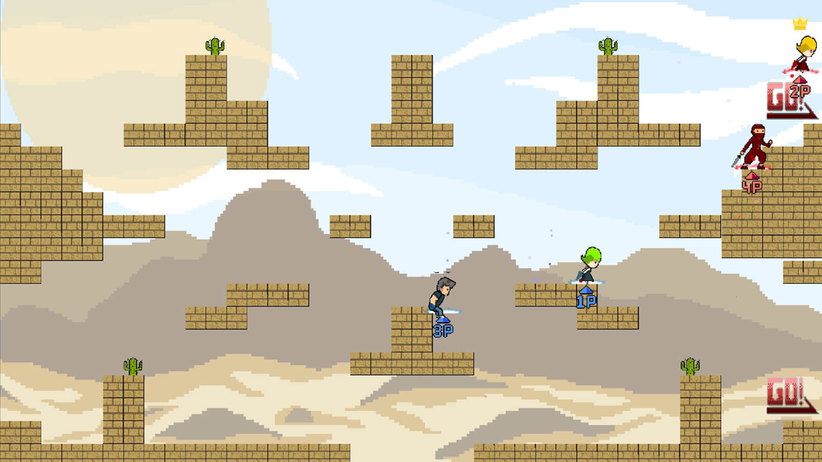 Four players jump around sandstone-brick platforms on a level with a desert background