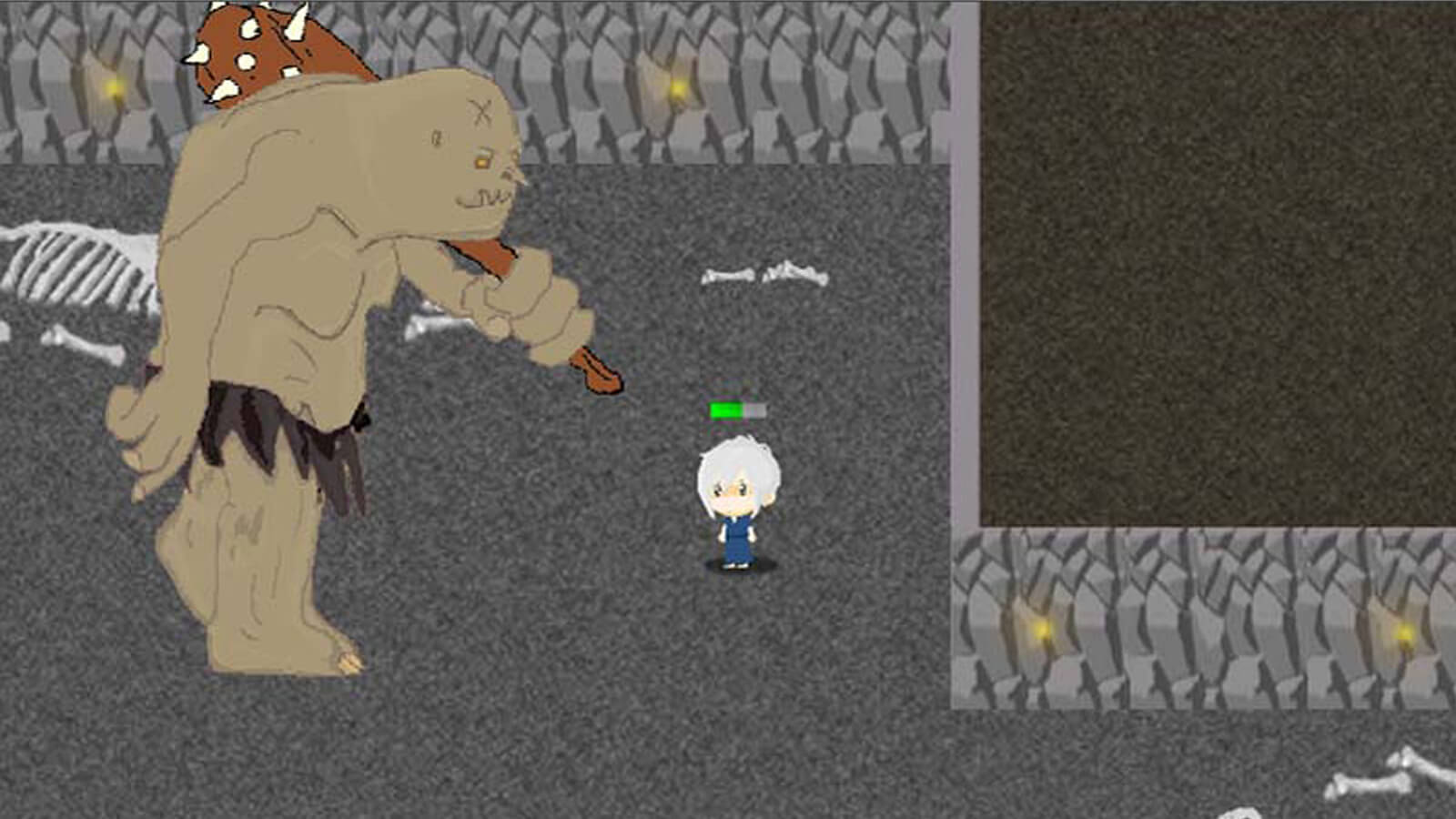 A large brown ogre carrying a spiked club stands next to the player's character in a torch-lit dungeon