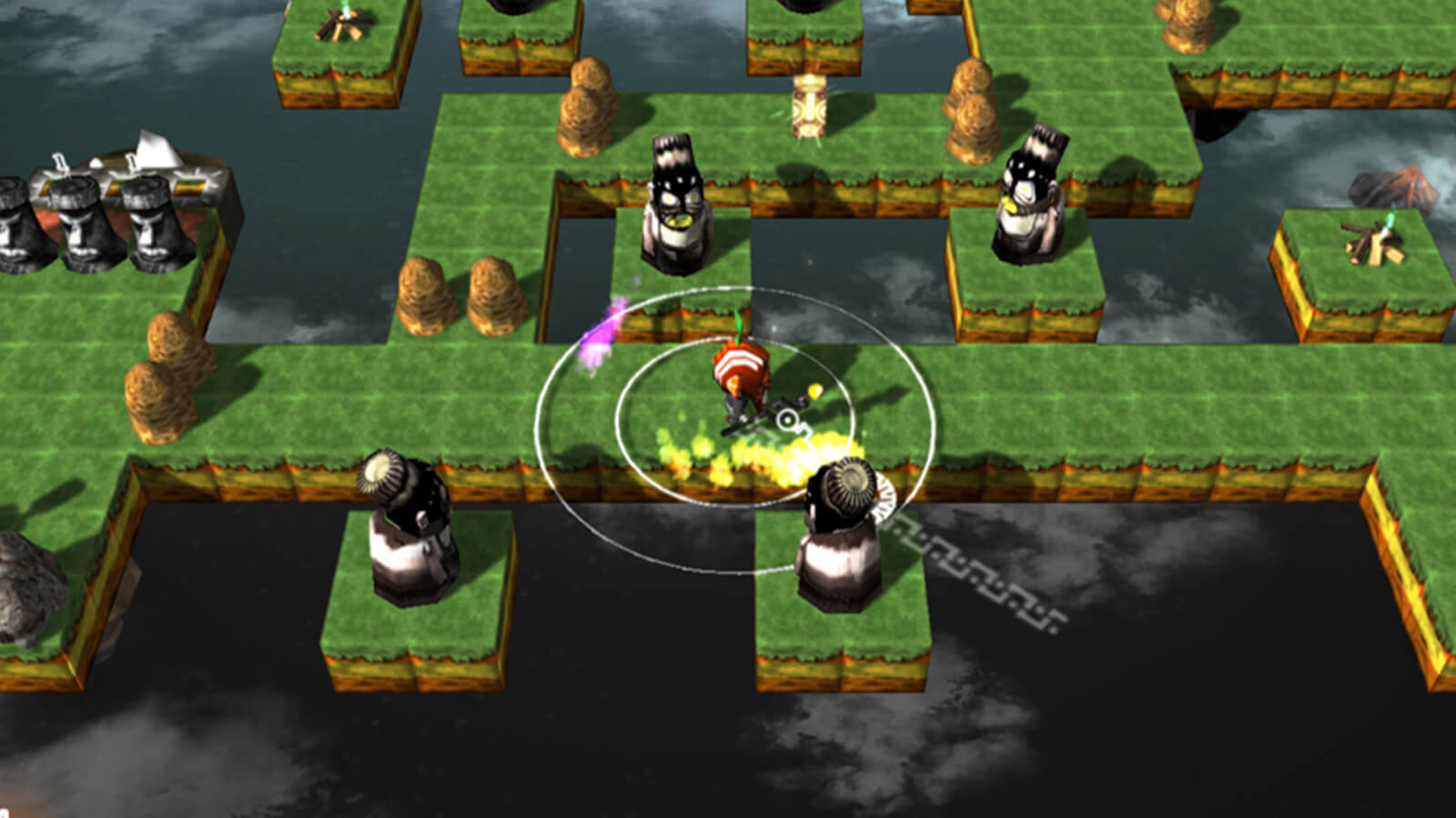 The player's character stands on a green grid platform floating in space as four black-and-white figures stare on.