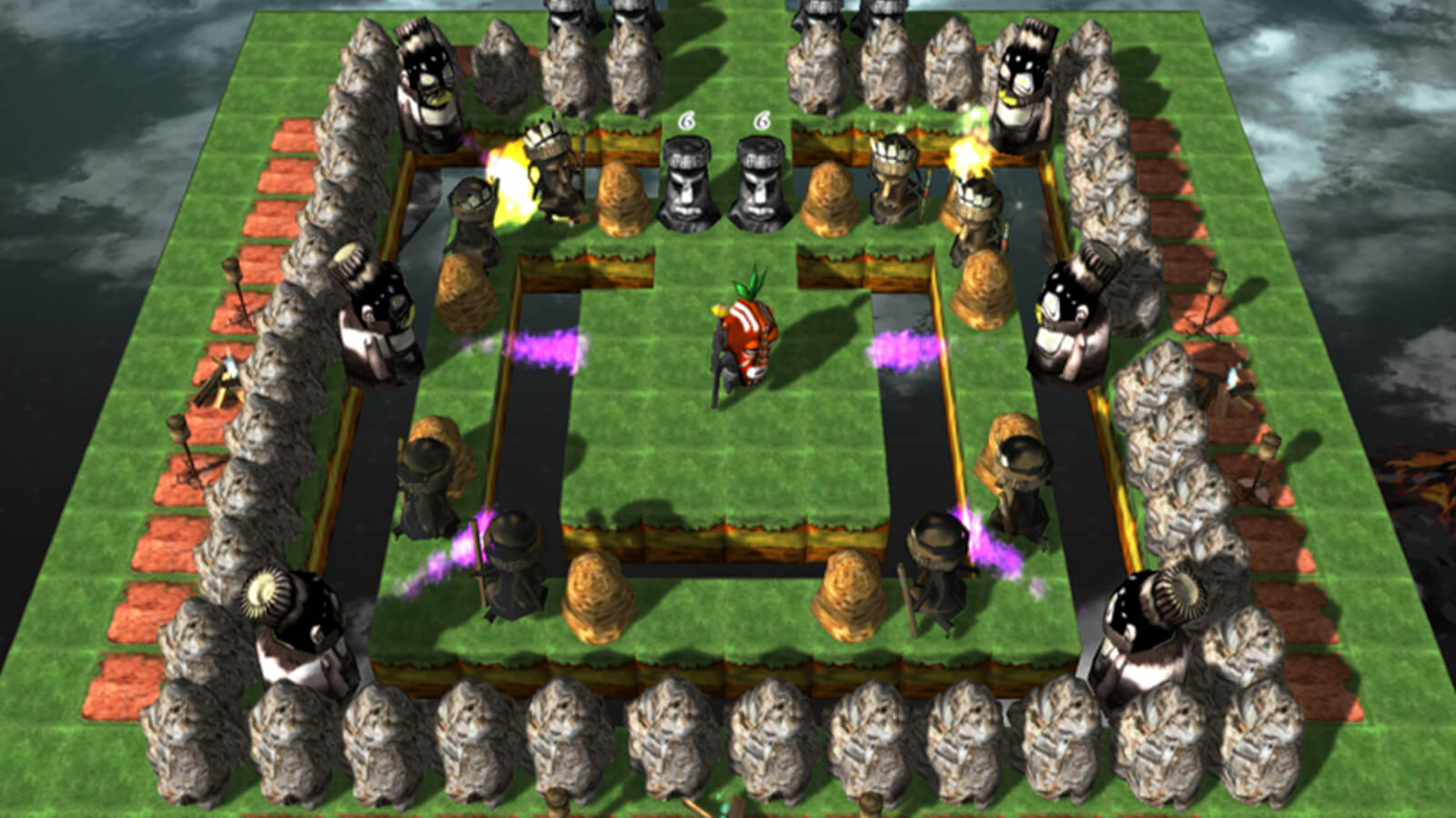 The player's character stands at the center of a green platform in the sky surrounded by rows of enemies