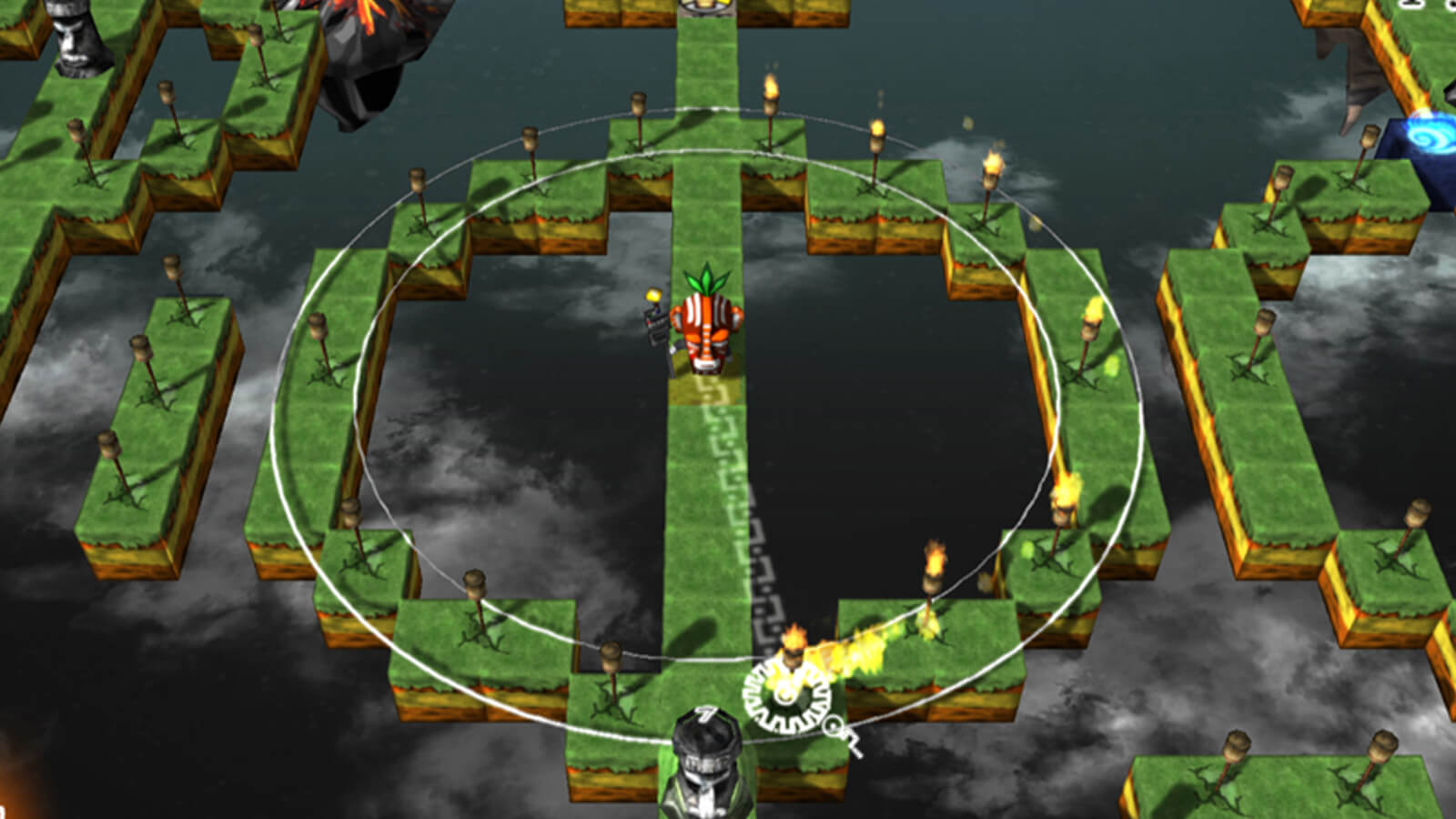 The player's character stands at the center of a single-block row and is lighting torches arranged in a circle around itself