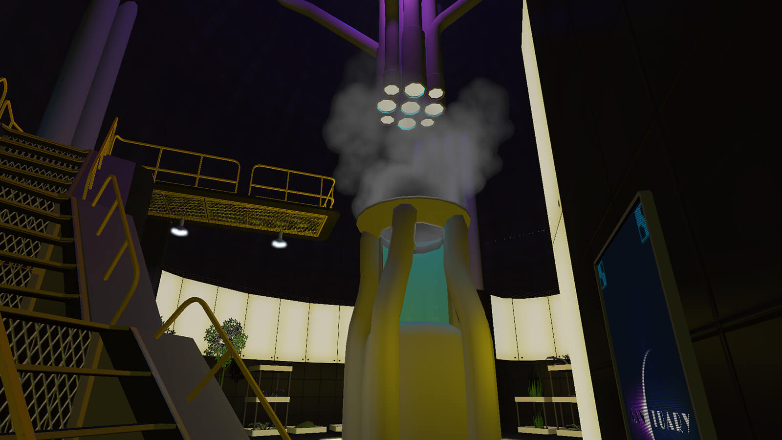 Industrial stairs lead up to a steaming, yellow-and-purple mechanism dominating the center of a cylindrical room.