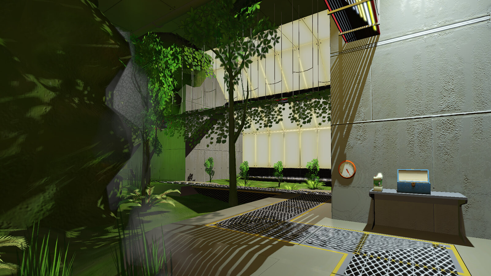 3D rendering of an industrial, bare-walled interior outfitted with a greenhouse for trees and other plant life.