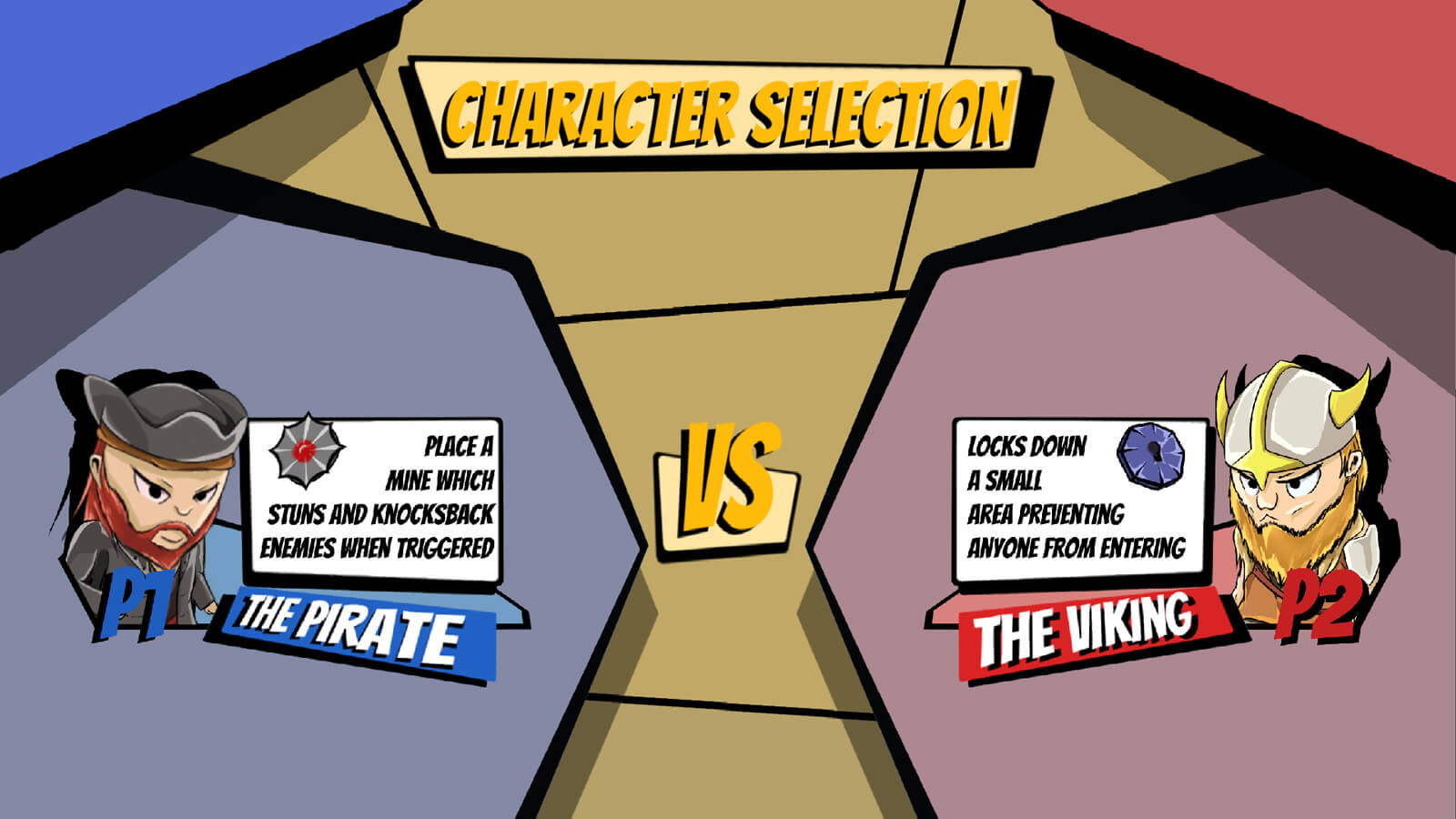 Character selection screen showing two playable characters: The Pirate and The Viking, and their special abilities