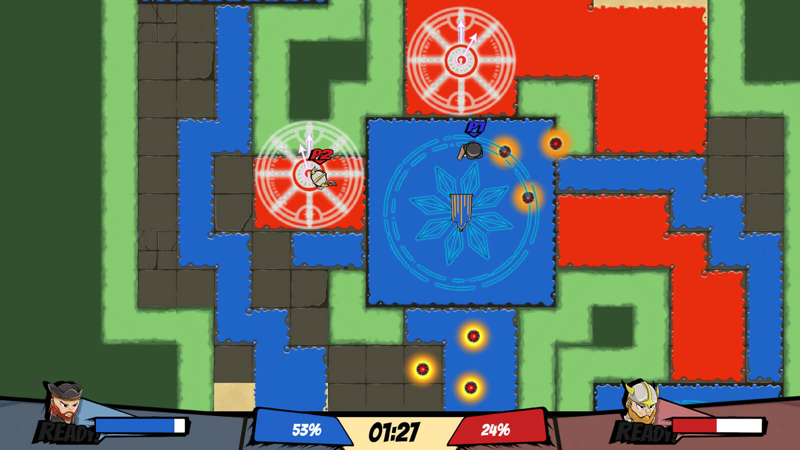 Top down screenshot of match between the Pirate and Viking in progress. Tiles are painted blue, red, and green