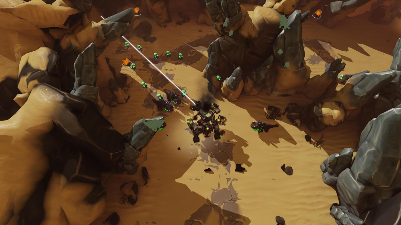 A battle mech shoots a laser at the enemies surrounding it in a desert canyon