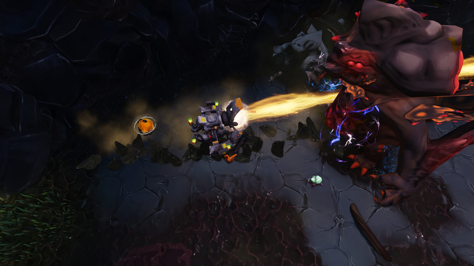 A battle mech shoots a thick orange beam at a massive enemy monster