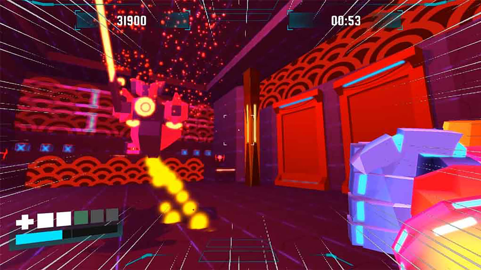 A stylized, violet-colored fist rushes in from the right toward a floating red robot in a vivid neon red room.