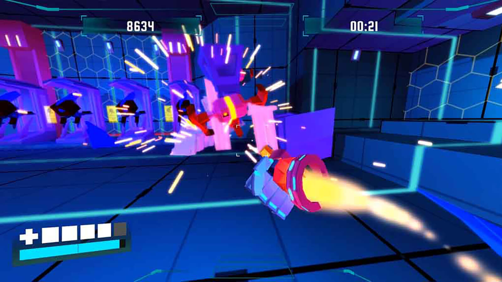 A violet-colored fist rockets through the air towards a sparking, floating robot in a neon-blue room.