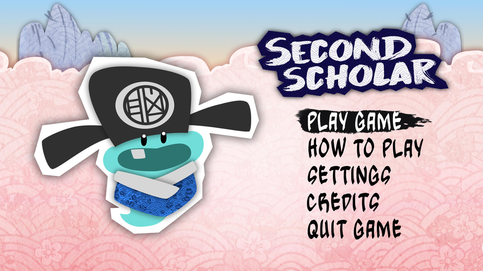 "A small blue character wearing traditional ""spread-horn"" hat seen next on the title screen for the game ""Second Scholar."""
