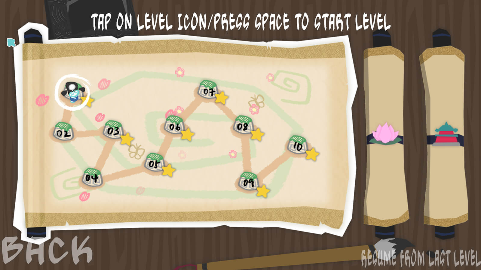 A level-select screen in which a small blue character is seen on a hand-drawn-style papercraft map on an unfurled scroll.