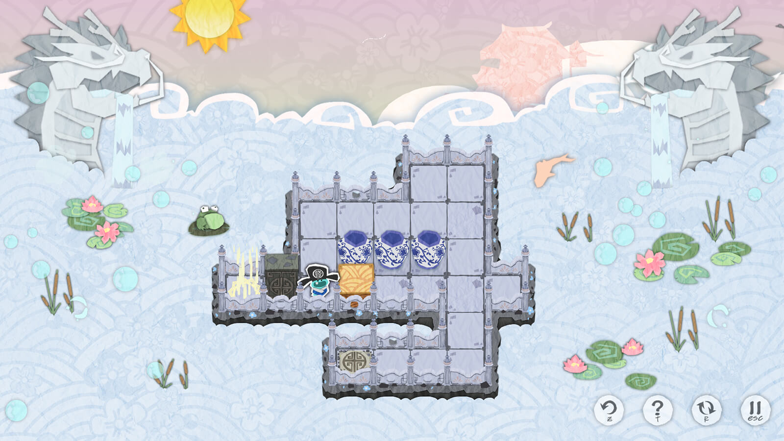 In colorful papercraft-style game art with a watery background, a small blue character stands on a gray puzzle grid platform.