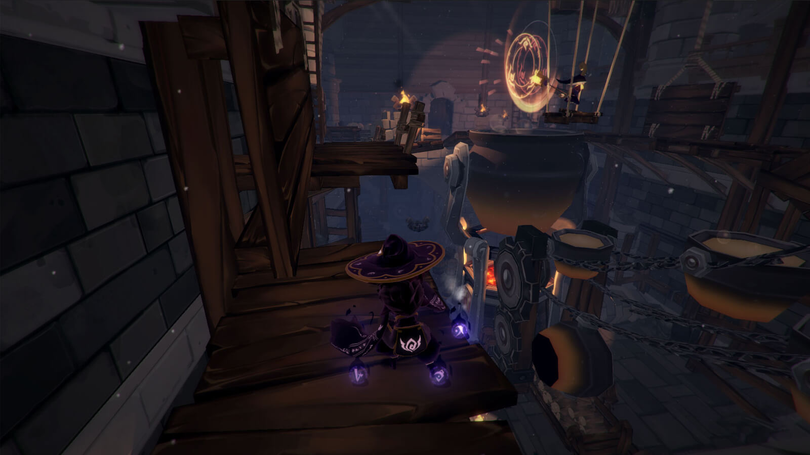 View of the player's character from behind standing in a darkened industrial area with an orange portal in the distance