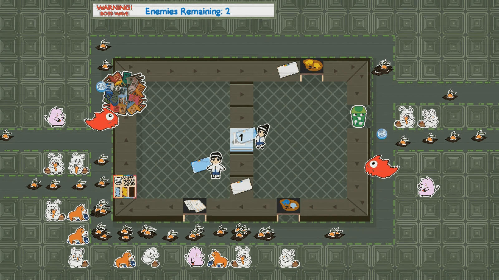 In a top-down view, a boy and girl are creating stickers surrounded by animal stickers and oncoming enemies.