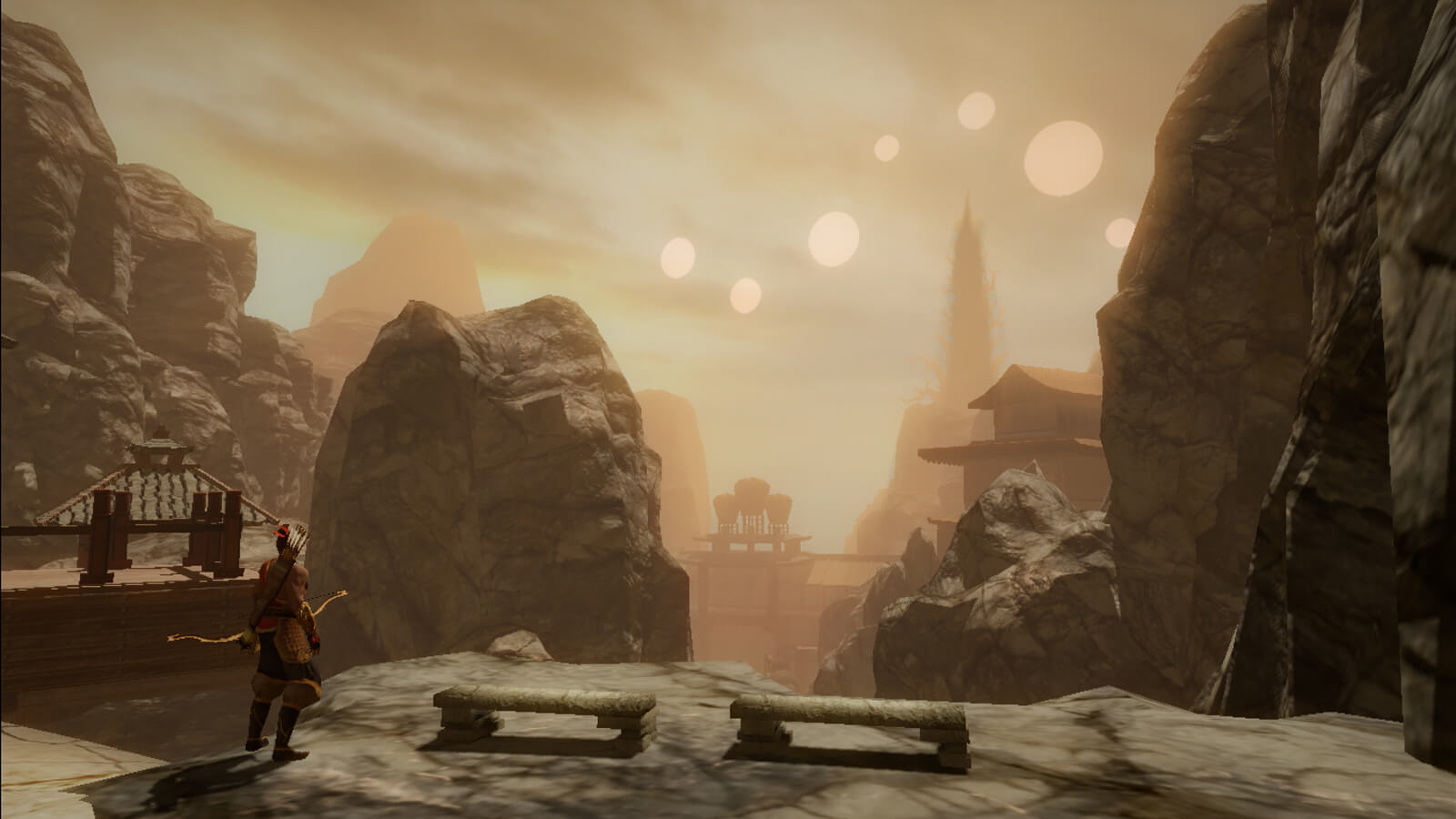 View of the player's character from behind in a mountainous village. Seven suns of varying sizes hang in a hazy sky.