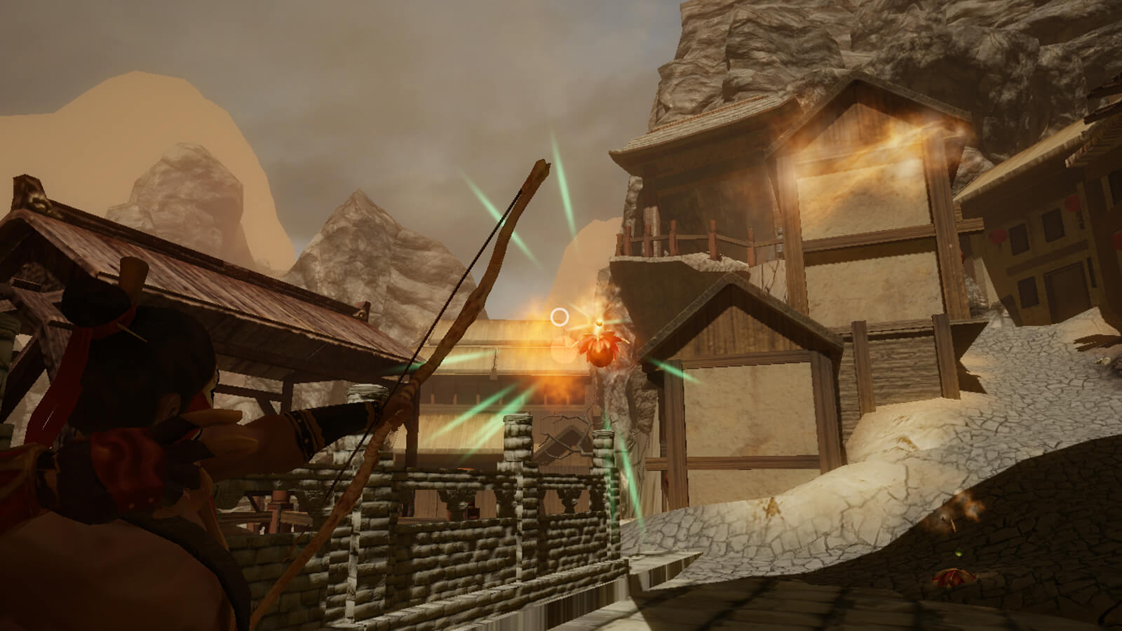 The player's character shooting an arrow at a glowing red object hanging in the air