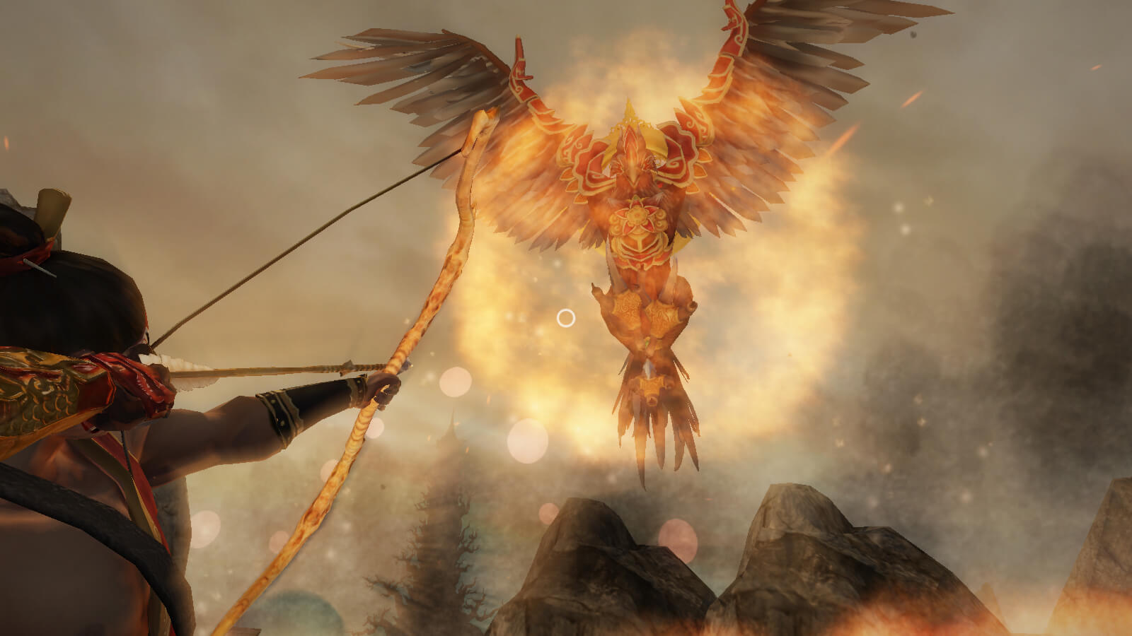The player taking aim at a glowing, fiery bird in the air with a bow and arrow