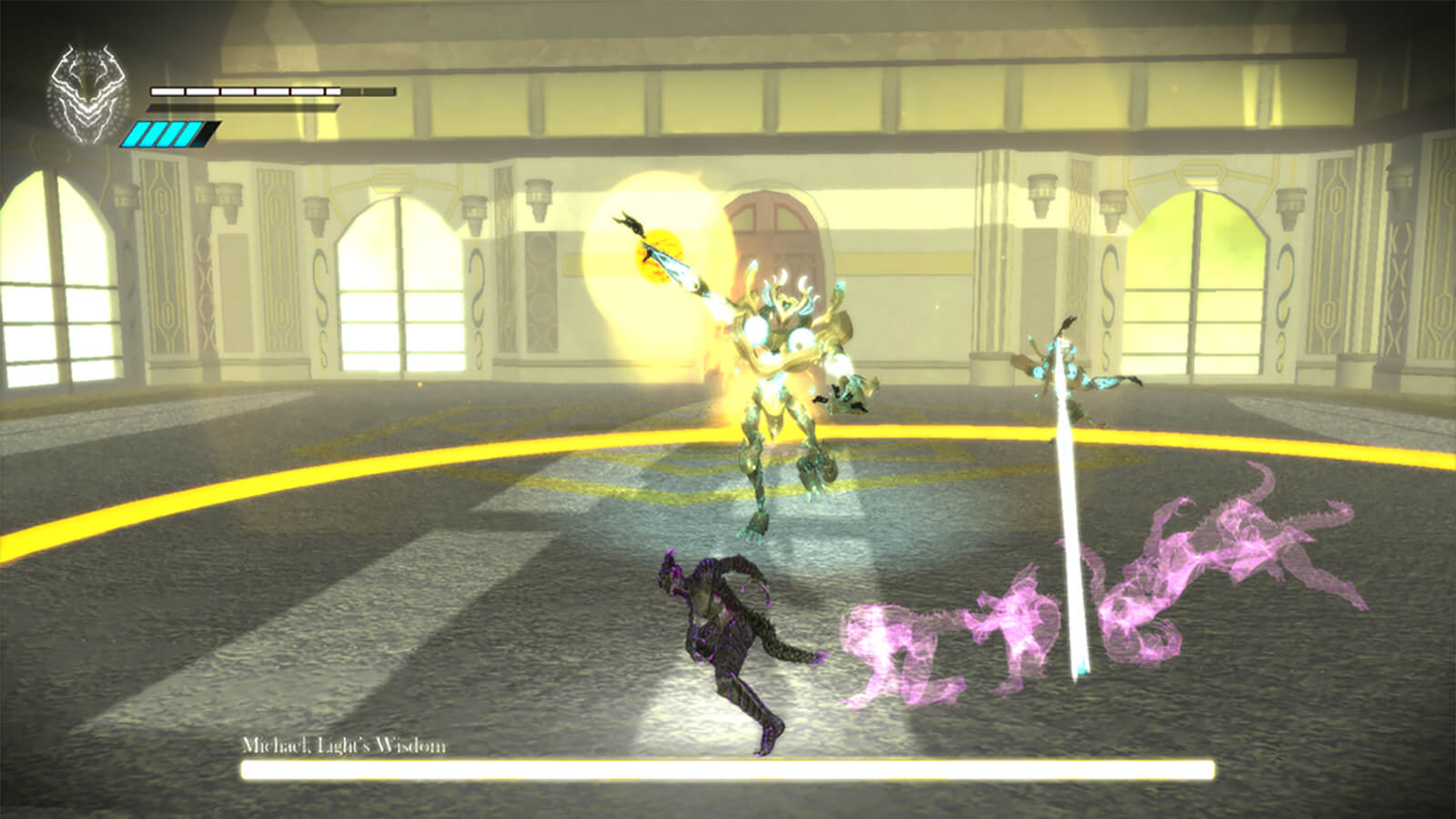 A demon-like figure in black and purple dodges in front of a tall yellow-clad monster in a brightly lit ballroom.