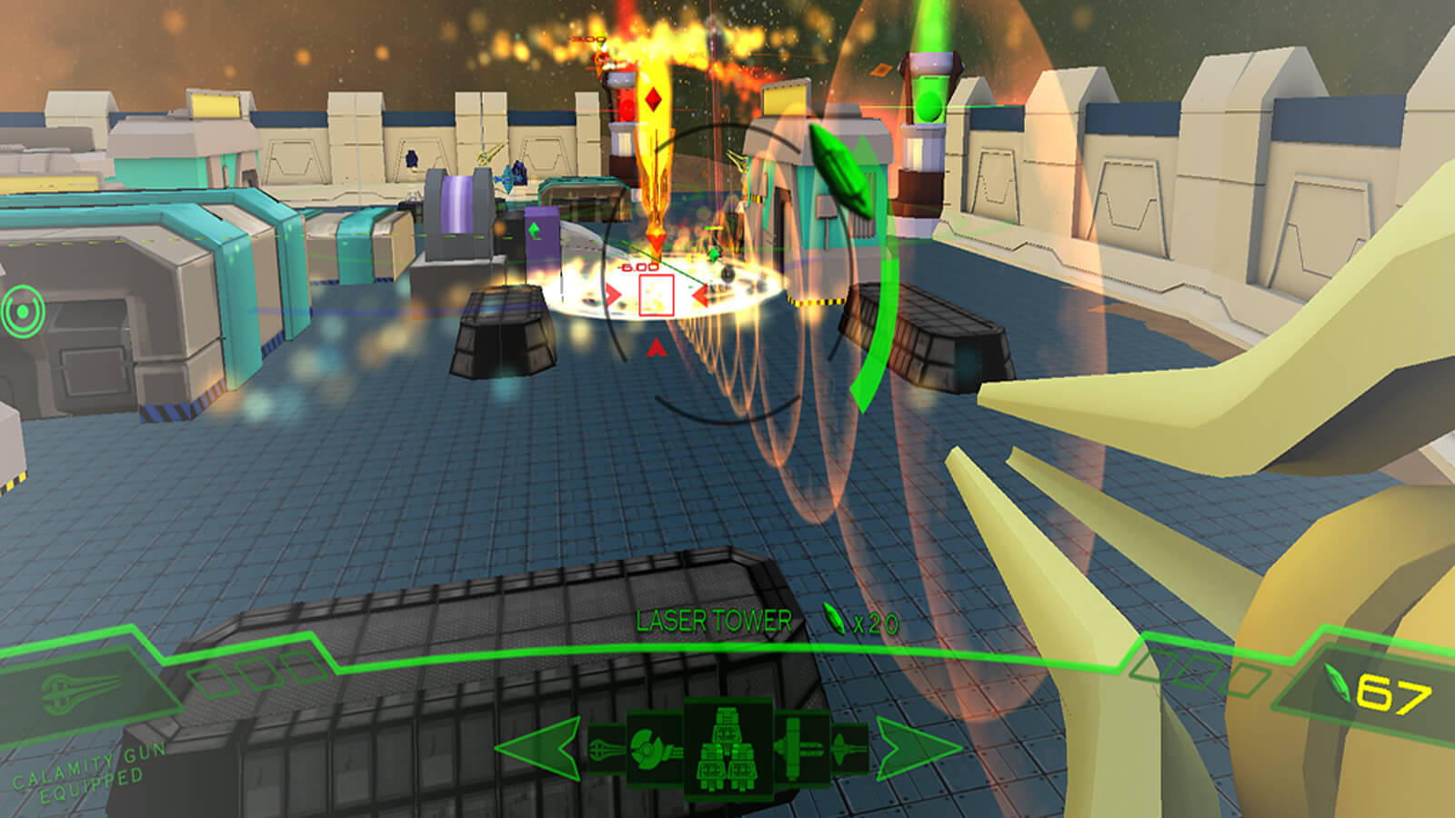 Player's first-person view of the playable area. Turrets, particles, and a HUD fill the screen.