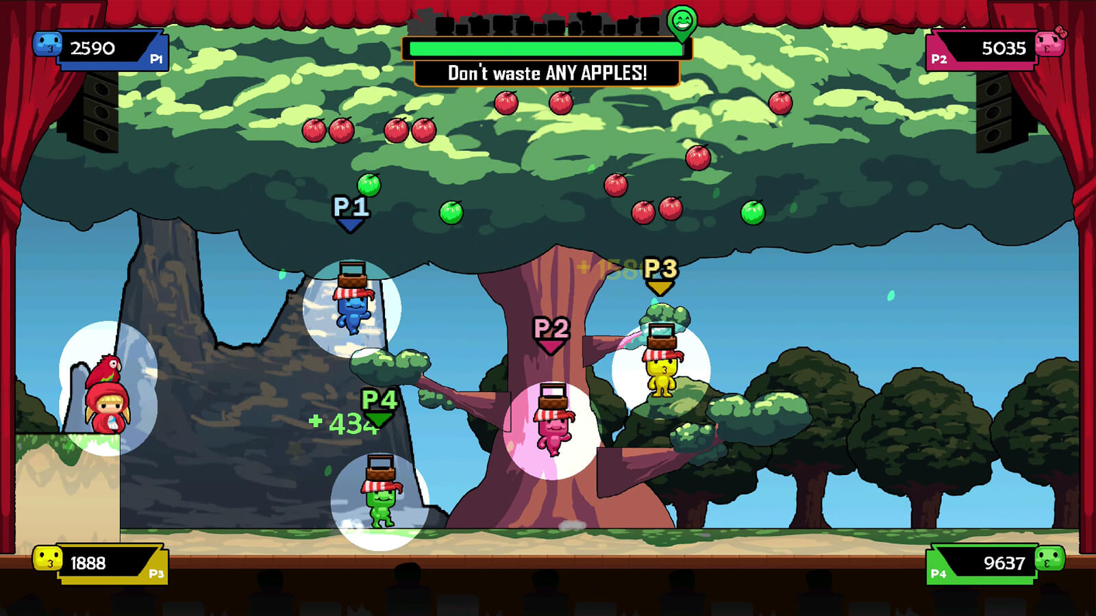 Four players of various colors jump around the stage under a large tree full of red and green apples