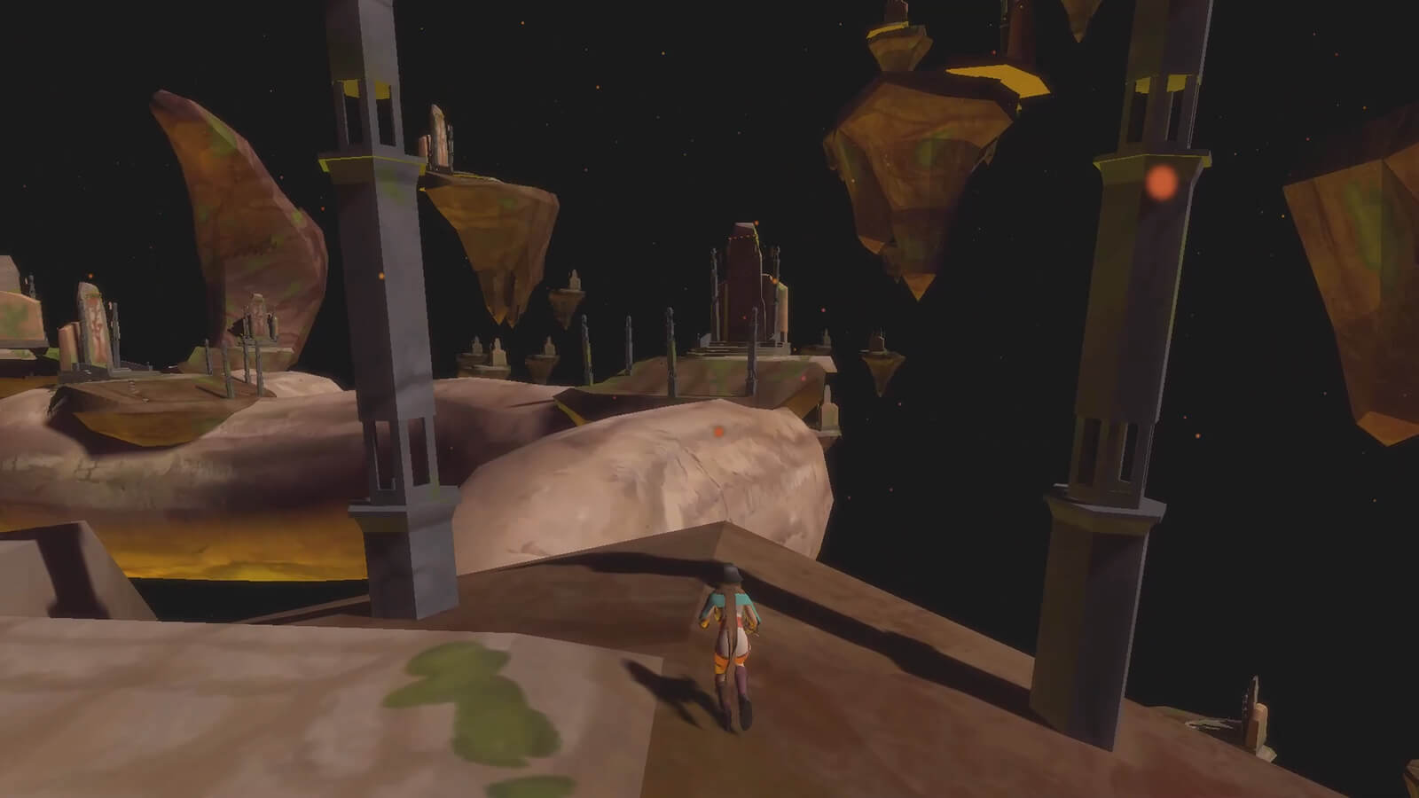 A character stands between two pillars on barren boulder floating in space, looking at similar boulders in the distance.