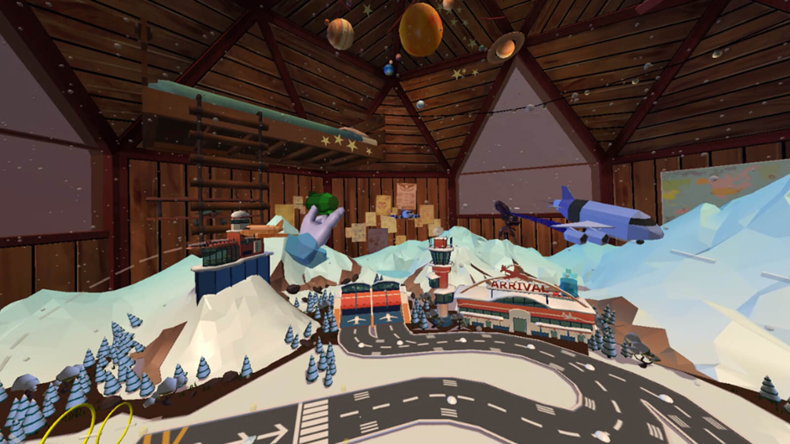 A snowy 3D modeled airport sit inside a wood-paneled room. The player's disembodied hand can be seen manipulating aircraft.