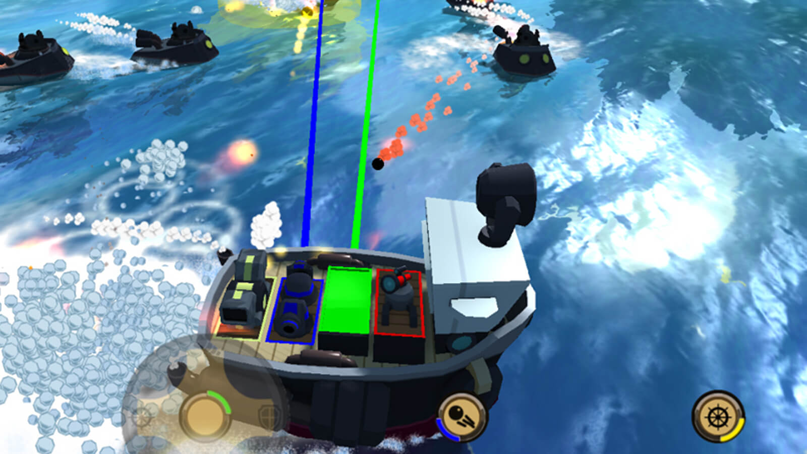 The green and blue players on fire lasers at enemies who are shooting cannon balls at the players' boat