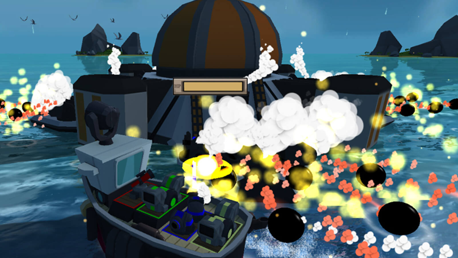 The players' boat dodges a barrage of cannon balls from a massive boss floating on the ocean