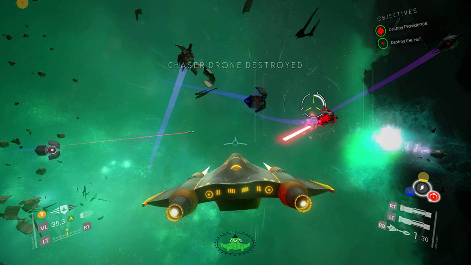 The player's spacecraft didges an enemy's red laser bolt against a green-tinged background
