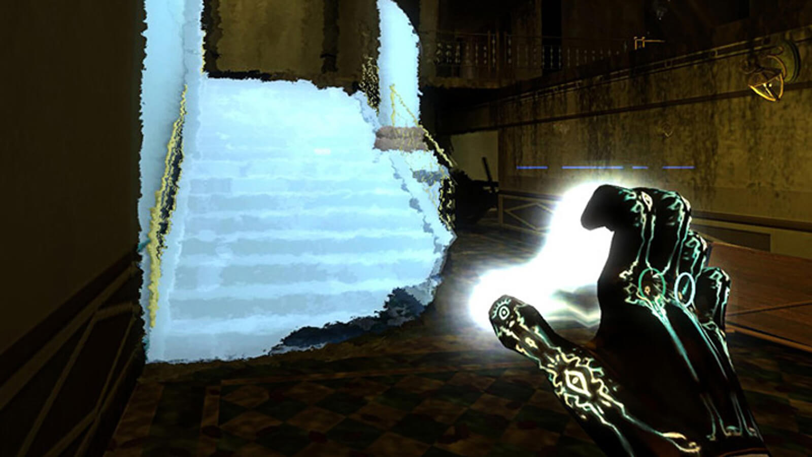 The player's hand is seen illuminated with runes as a shimmering image of a blue-white staircase appears in front