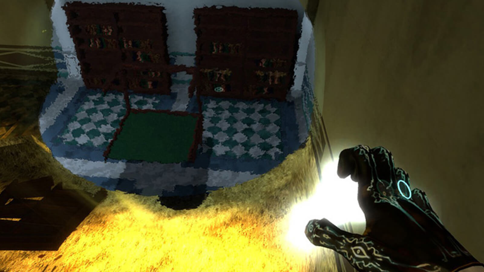 The player's hand is seen illuminated with runes as a shimmering image of shelving and a table appears