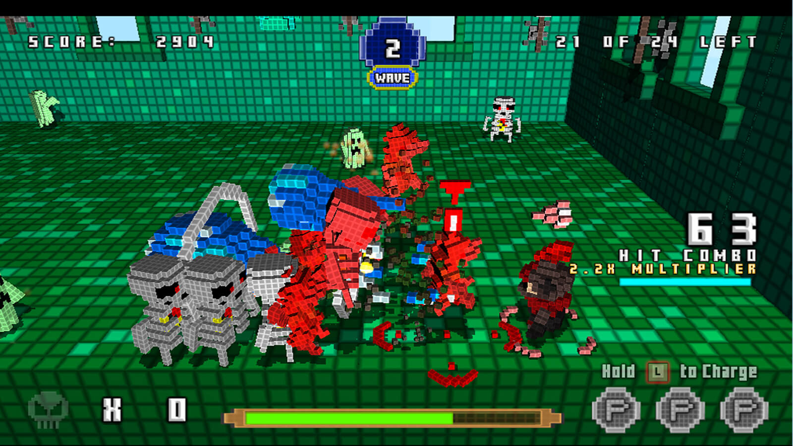 A crowd of multicolored, voxel-based enemies descend on the player on a green-background map