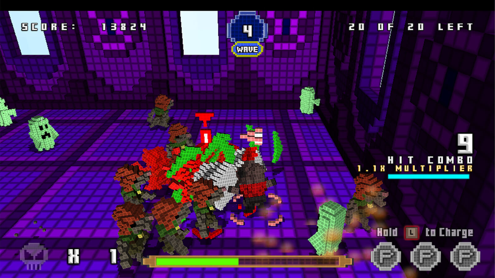 Several voxel-based enemies surround the player's character on a violet-colored map