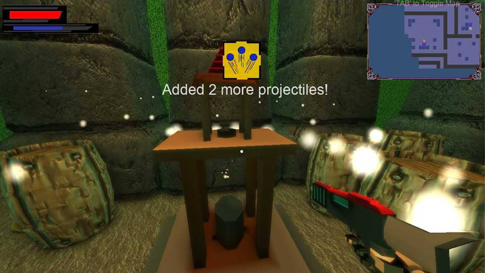 "First person view of a small table surrounded by barrels in a stone dungeon. The words ""Added 2 more projectiles!"" appear."