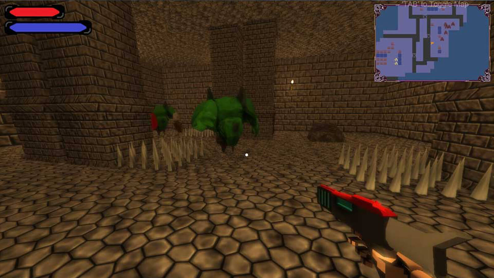 The player aims at a green ogre in a stony dungeon littered with metal spikes on the floor