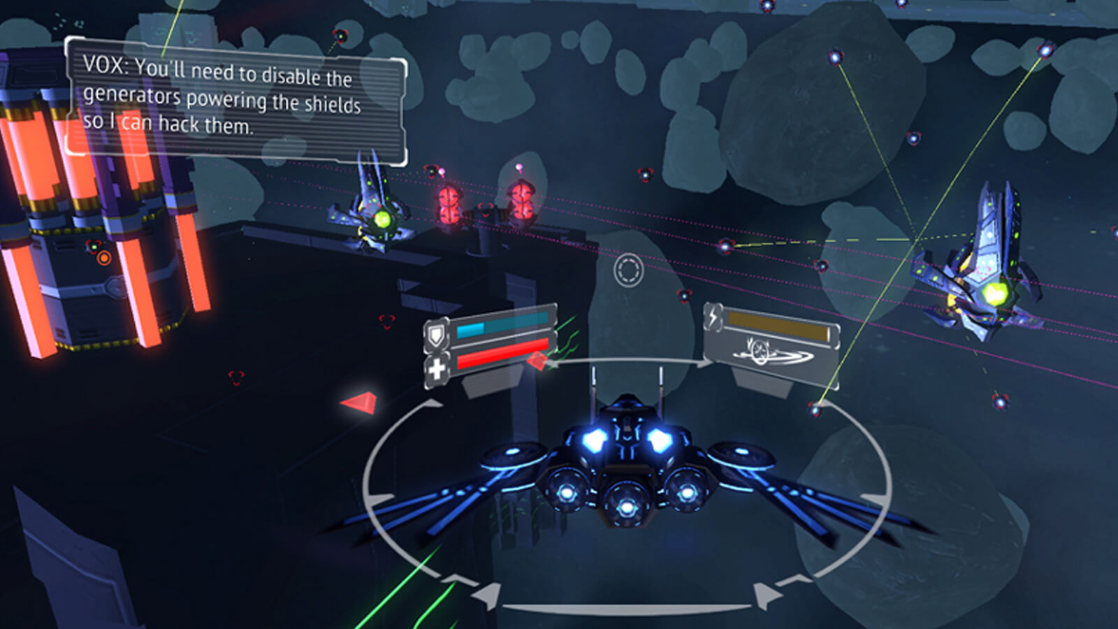 View of the player's blue and black space ship from behind with two blue enemy ships approaching