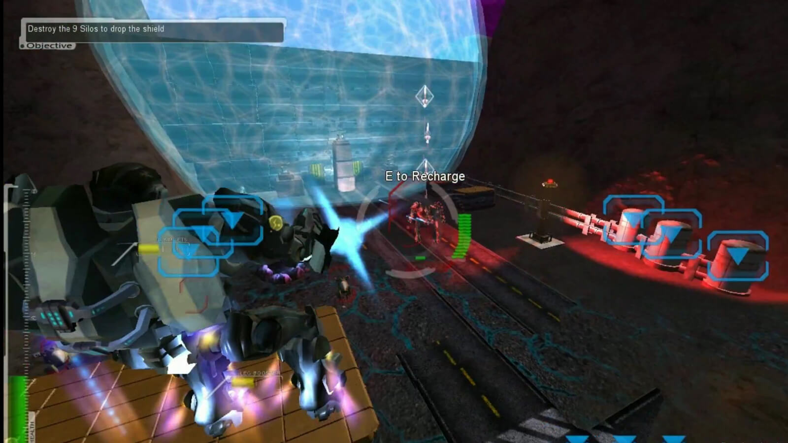 A mech suit hovers above an enemy in the distance lining up a shot. A blue shield blocks the path forward.