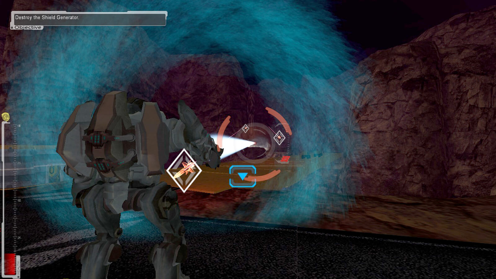 Mech suit seen from behind in a cave preparing to fire a missile