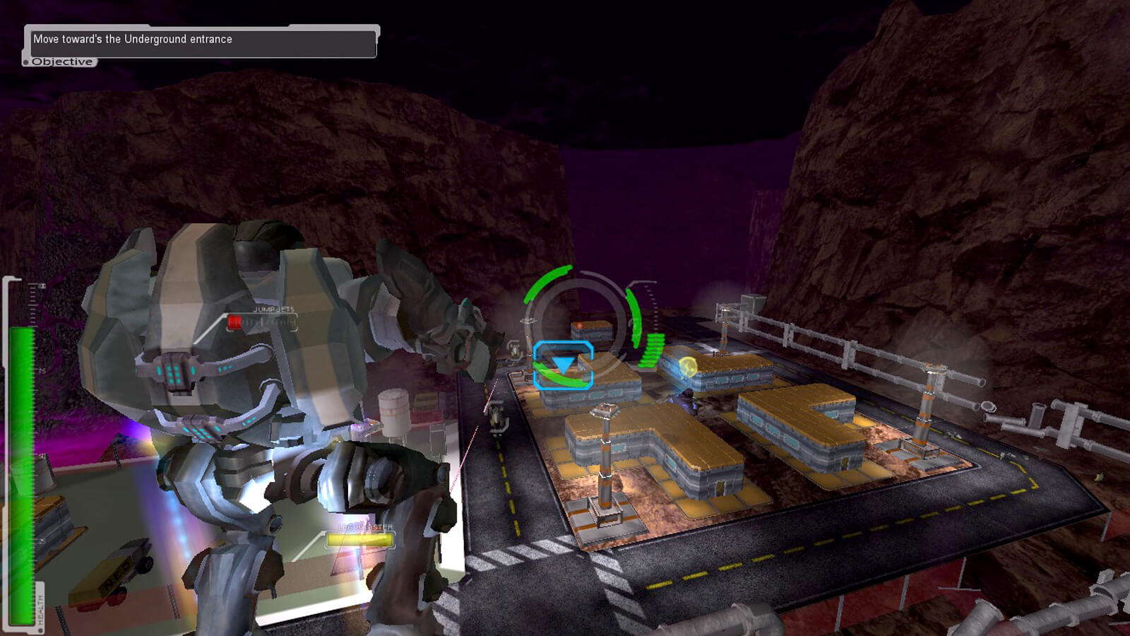 View from the back of a mech suit as the player jumps through the air. An underground road and military base are seen below.