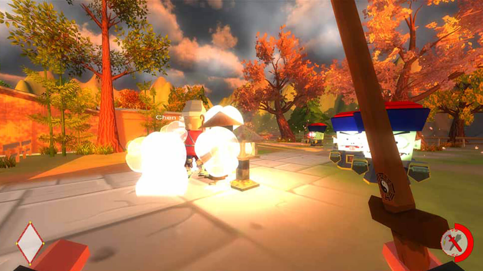 Two zombies come at the player in a first person view. The player's sword is seen and an exploding enemy is on the left.