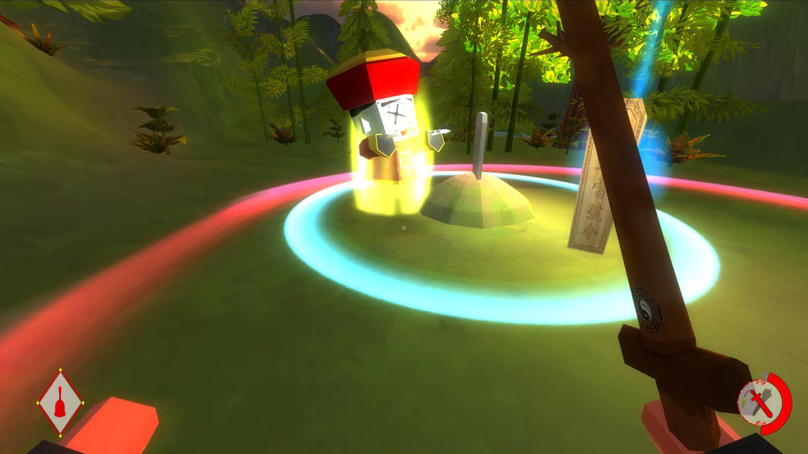 An enemy zombie in front of the player is on fire in a forested valley area