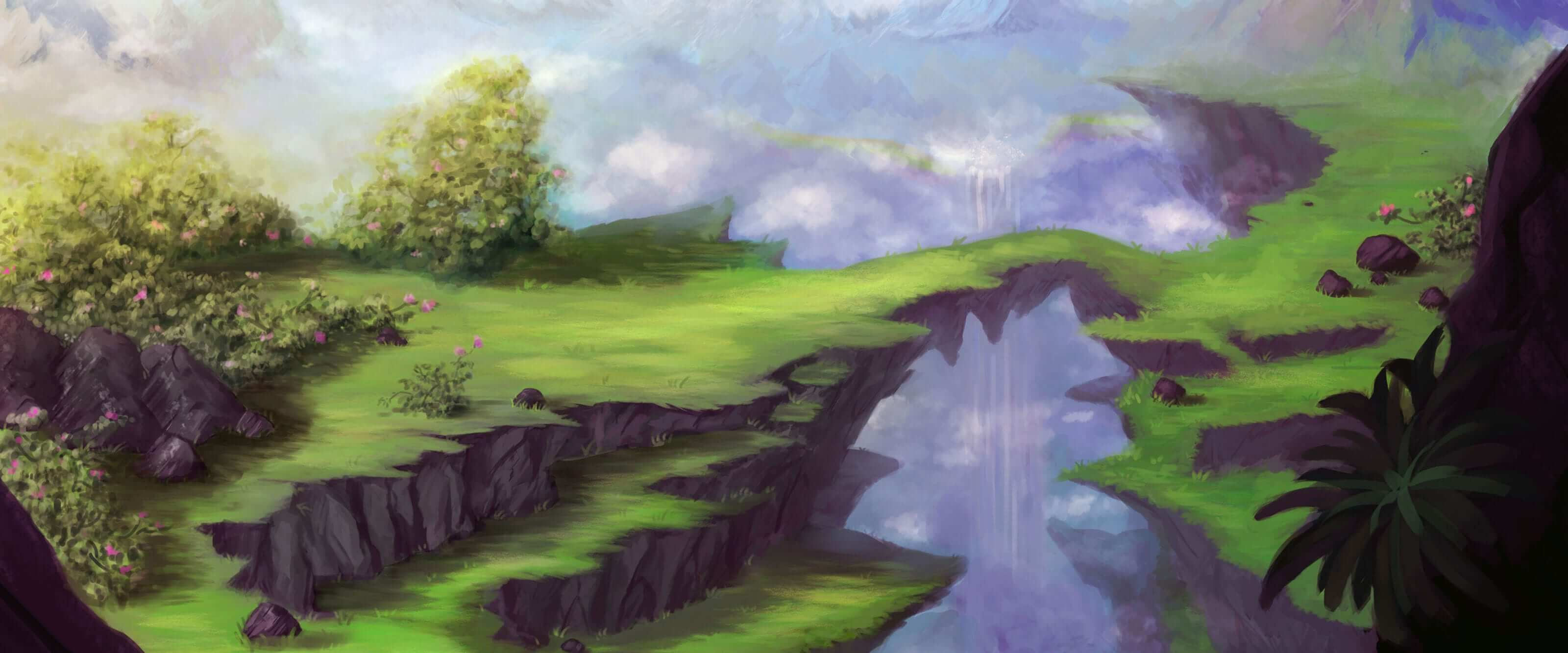 A digital landscape painting of lush, grassy cliffs connected by a thin natural bridge with a tall waterfall seen far behind.