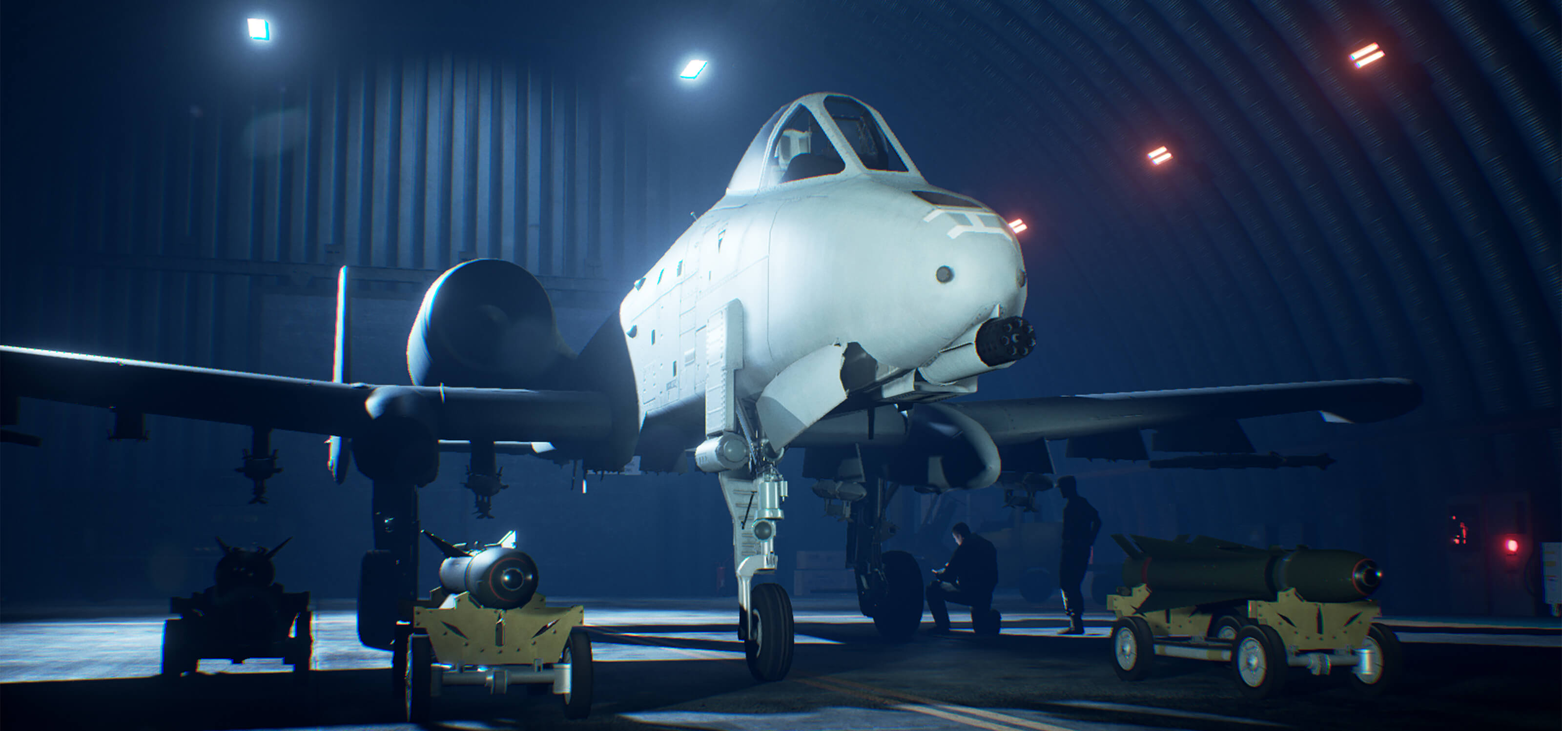 Screenshot from Ace Combat 7 of a fighter jet in a hangar with two men working near the landing gear.