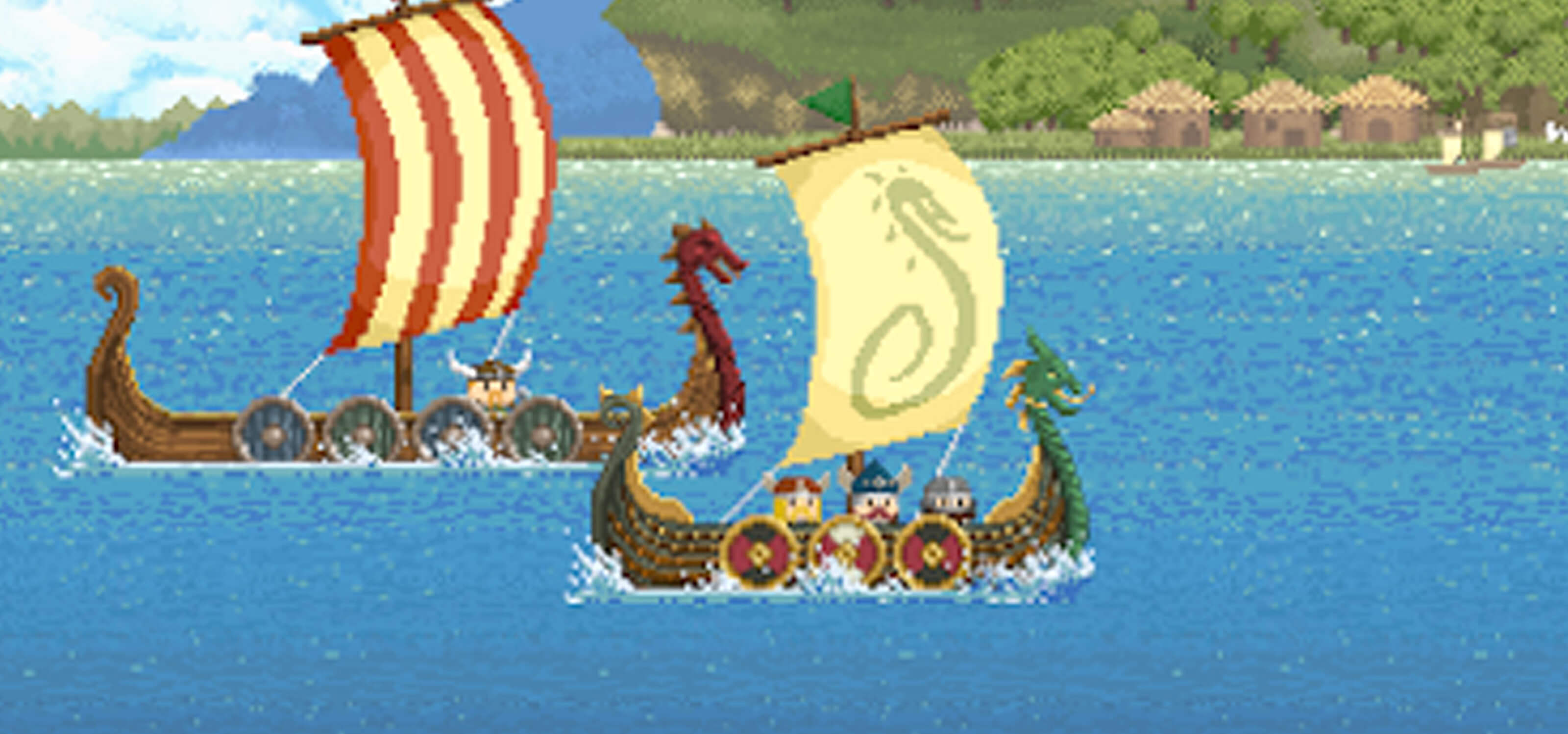 Pixel art screenshot of two viking dragon ships on the water sailing past a village in the background