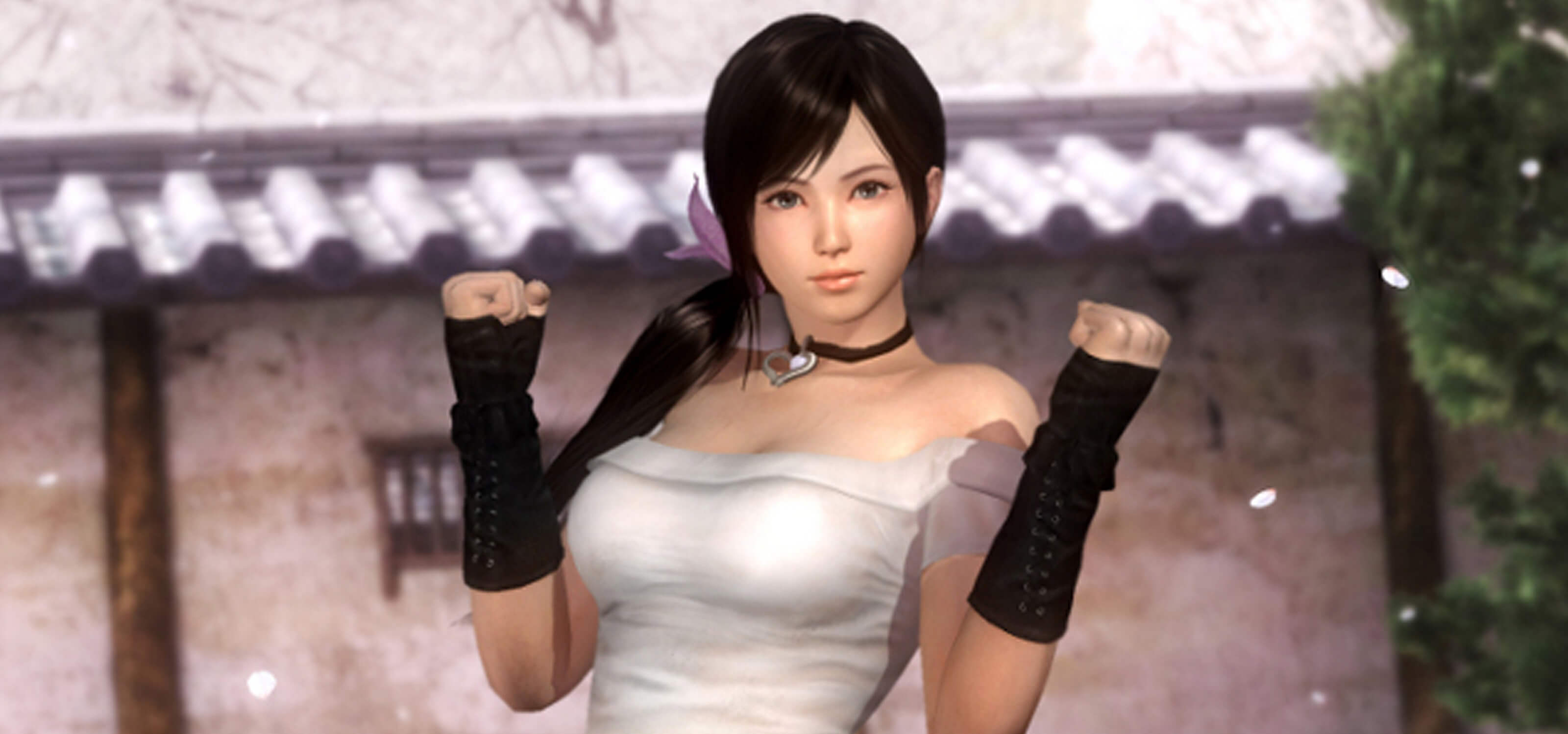 Kokoro from the Dead or Alive franchise stands in a courtyard in a white tube top