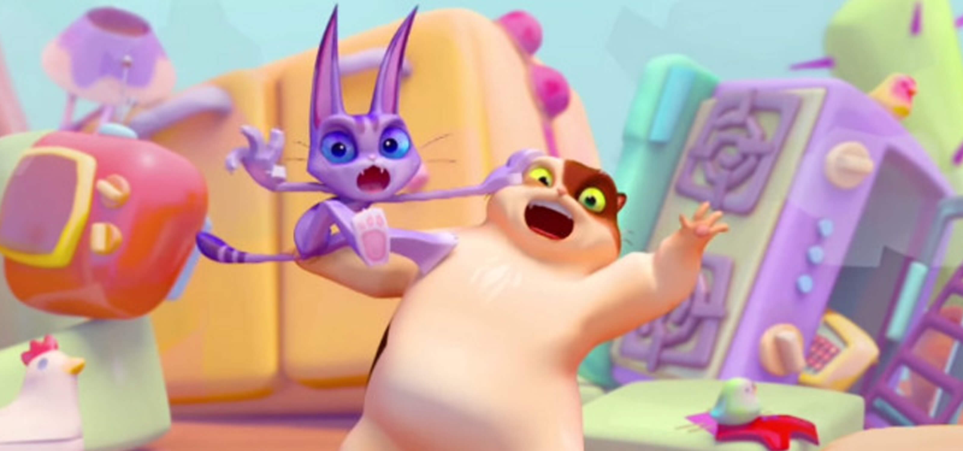 3D animated scene of a purple cat and beige cat surrounded by a child's colorful toys