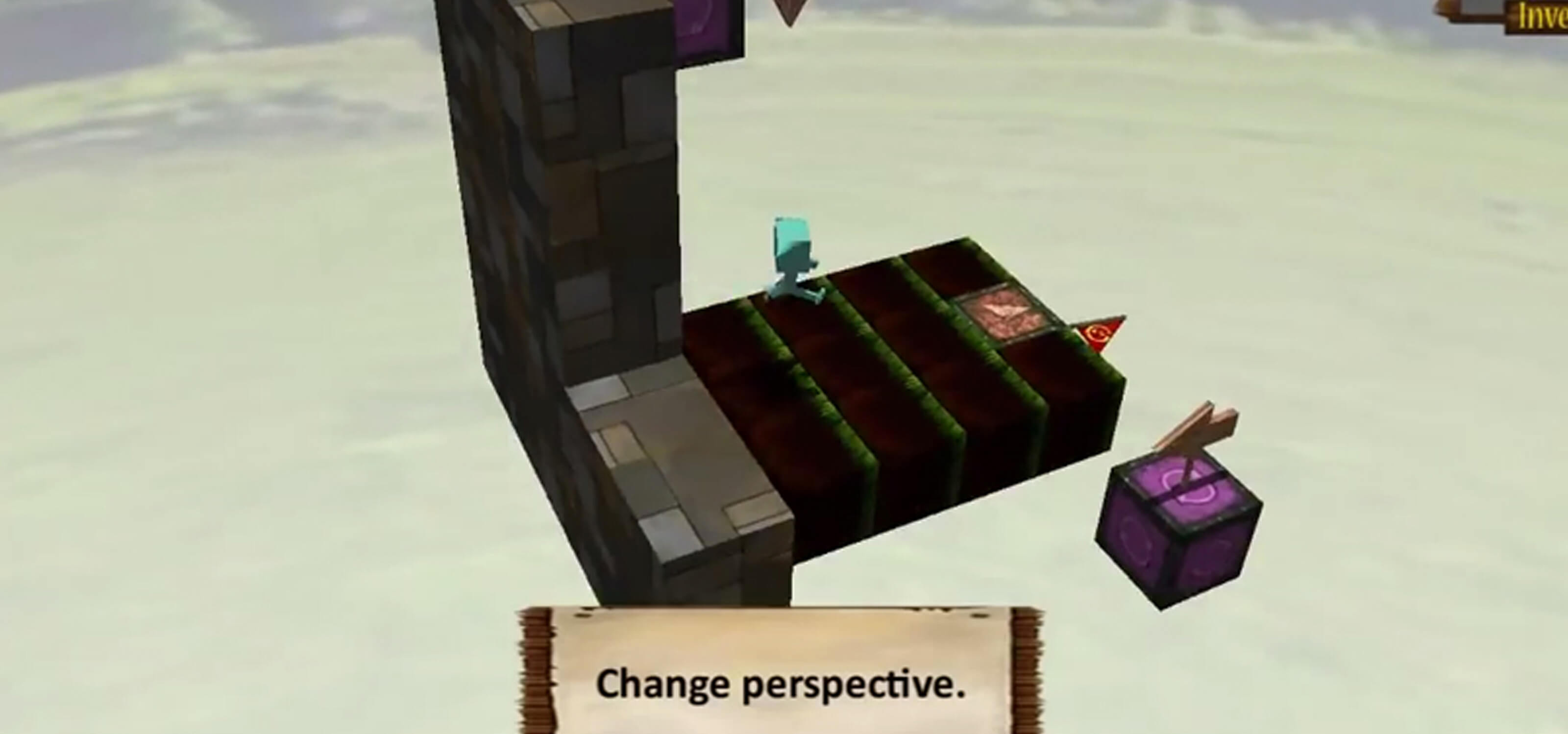 Screenshot from Blockhead game, a green character with a cube head runs on a platform floating in the sky