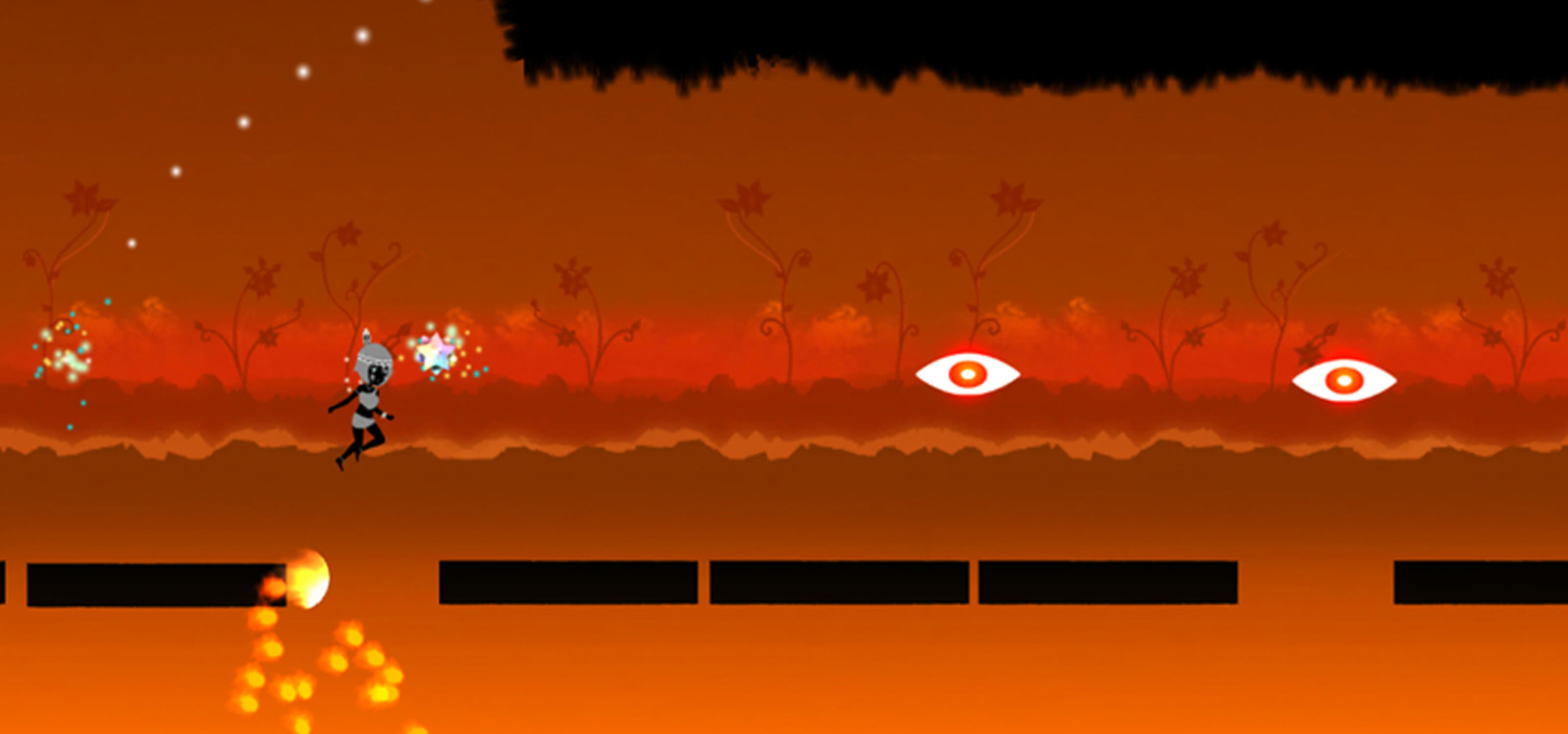 Screenshot from Iris, the 2D character hops onto a platform in a fiery level as two glowing eyes hover in the air ahead