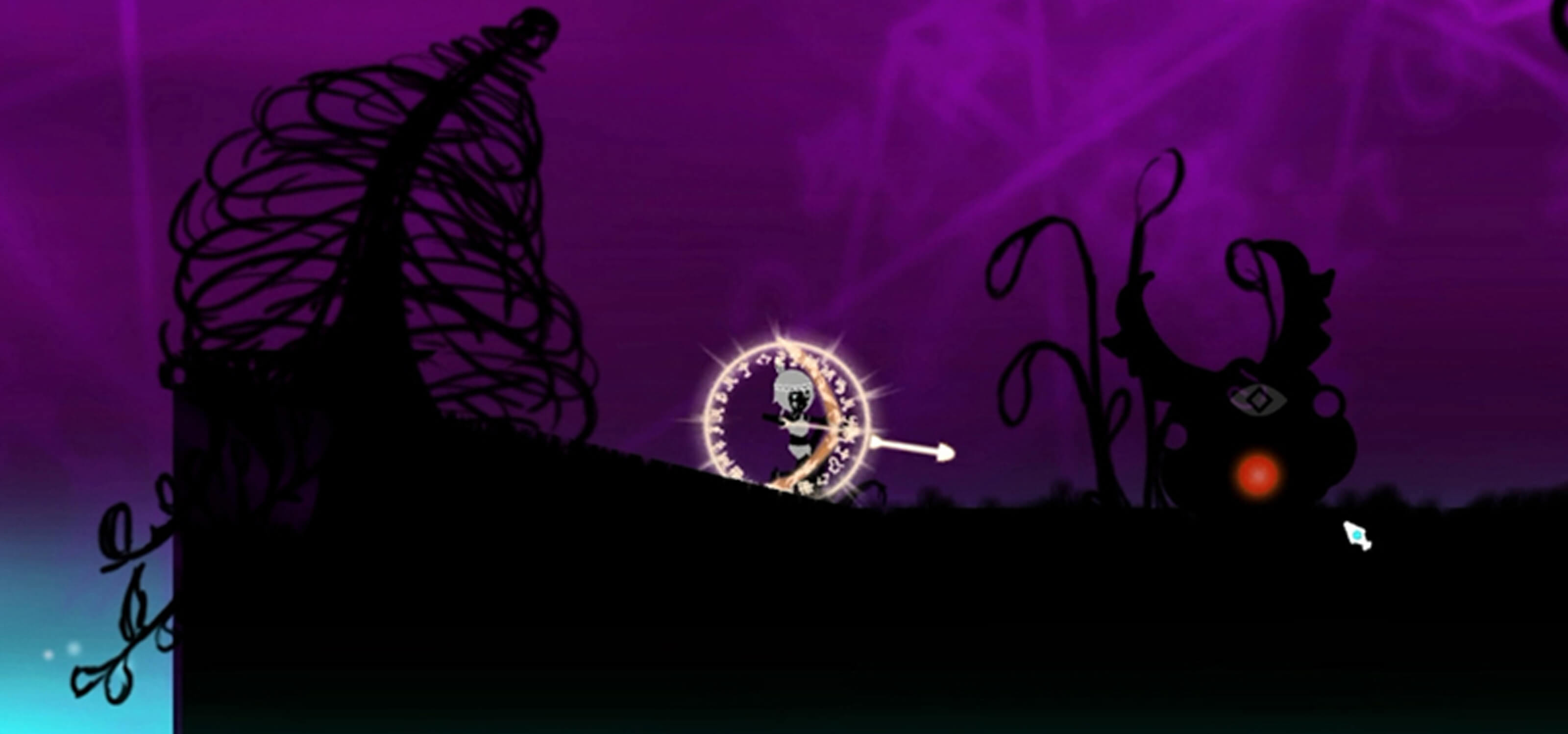 Screenshot of character Iris surrounded by a magical rune, aiming in arrow in a shadowy world with a purple background