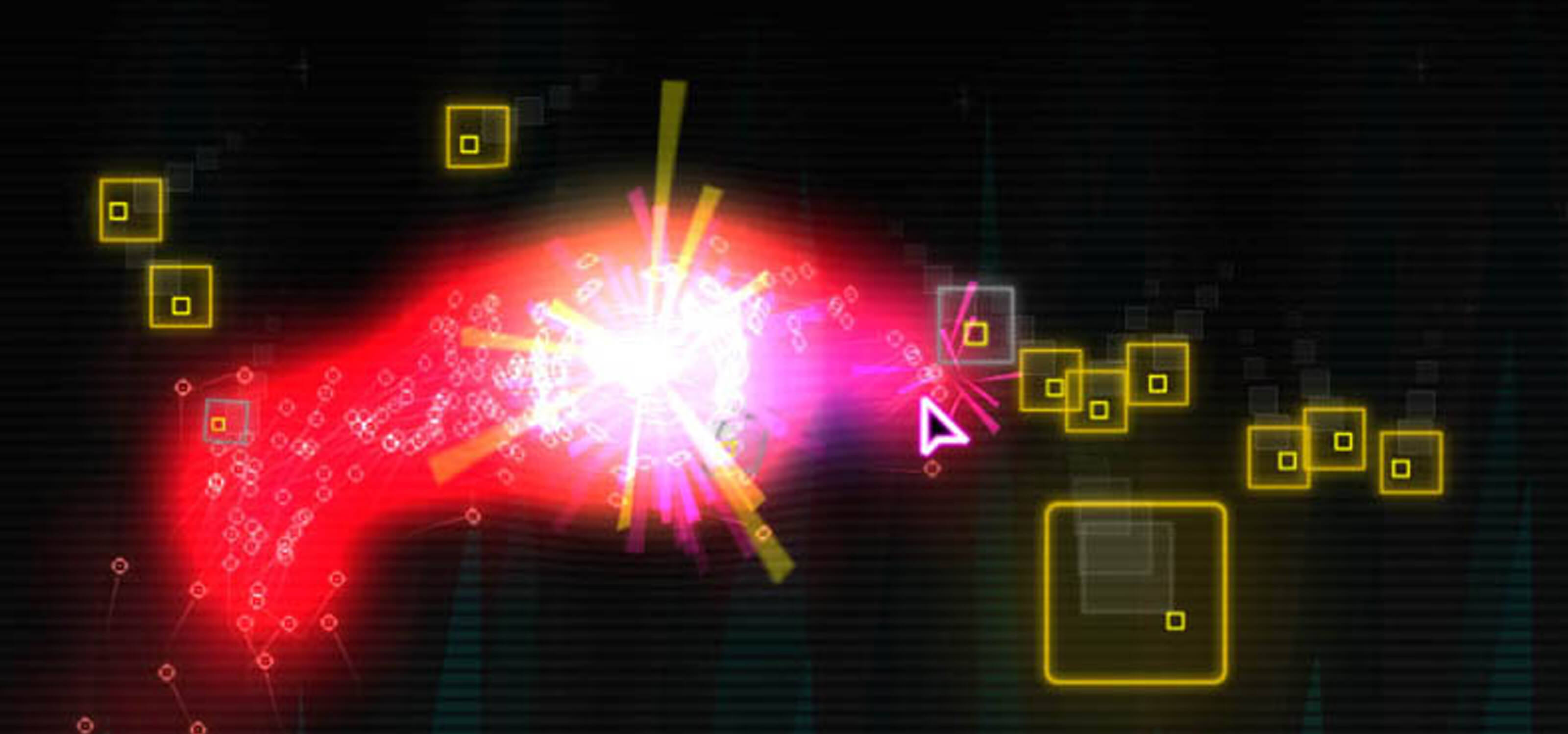 Screenshot of Pixi game, yellow-outlined squares surround a cloud of red in a black background